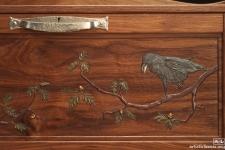 carved walnut desk