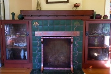 Mahogany Fireplace Mantle and Cabinetry
