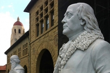 Sculptures of Ben Franklin and Johann Gutenberg