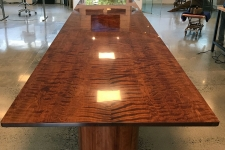 Fiddleback Redwood stand-up conference table