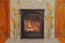 Black-Eyed Susan glass mosaic fireplace