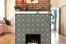 quilt pattern, honed glass mosaic fireplace